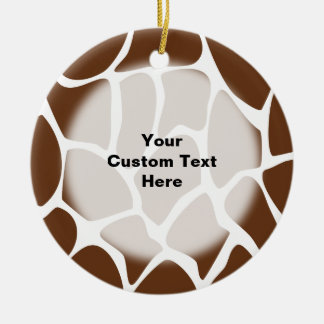 Giraffe Print Pattern in Dark Brown. Christmas Ornament