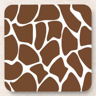 Giraffe Print Pattern in Dark Brown. Coaster