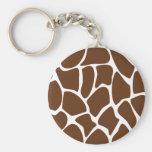Giraffe Print Pattern in Dark Brown. Basic Round Button Key Ring