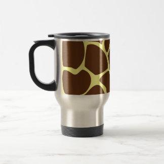 Giraffe Print Pattern in Dark Brown Coffee Mugs