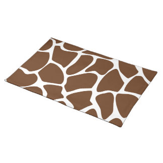 Giraffe Print Pattern in Dark Brown. Placemat