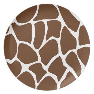 Giraffe Print Pattern in Dark Brown. Plate