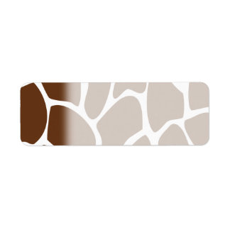 Giraffe Print Pattern in Dark Brown. Return Address Label