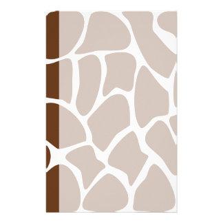 Giraffe Print Pattern in Dark Brown. Stationery