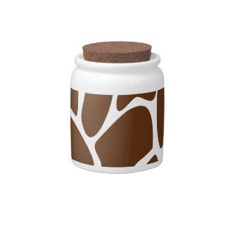Giraffe Print Pattern in Dark Brown Candy Jar