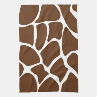 Giraffe Print Pattern in Dark Brown. Tea Towel