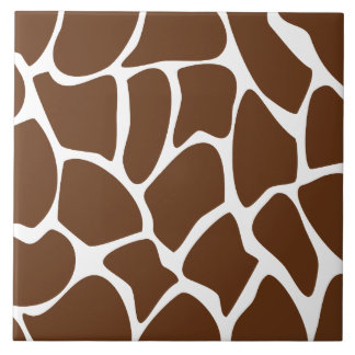 Giraffe Print Pattern in Dark Brown. Tile