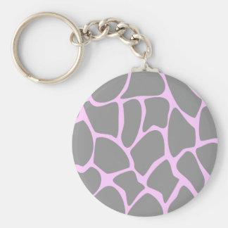 Giraffe Print Pattern in Gray. Key Ring