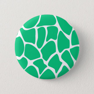 Giraffe Print Pattern in Jade Green. 6 Cm Round Badge
