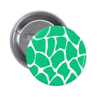 Giraffe Print Pattern in Jade Green. 6 Cm Round Badge