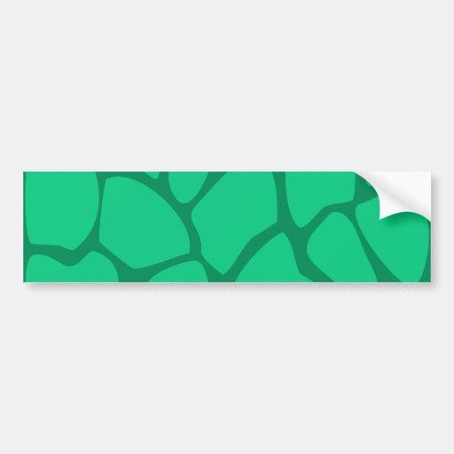Giraffe Print Pattern in Jade Green. Bumper Stickers