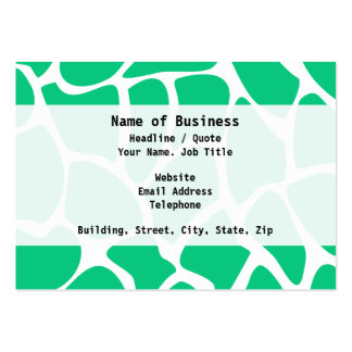 Giraffe Print Pattern in Jade Green. Pack Of Chubby Business Cards