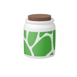 Giraffe Print Pattern in Jungle Green Candy Jar