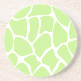 Giraffe Print Pattern in Light Lime Green. Coaster