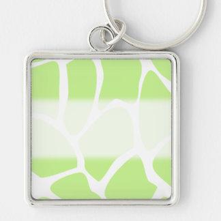 Giraffe Print Pattern in Light Lime Green. Key Ring