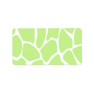 Giraffe Print Pattern in Light Lime Green. Label
