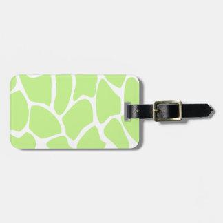 Giraffe Print Pattern in Light Lime Green. Luggage Tag