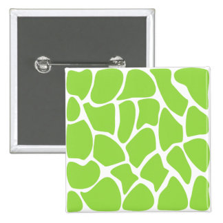 Giraffe Print Pattern in Lime Green. 15 Cm Square Badge