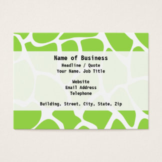 Giraffe Print Pattern in Lime Green. Business Card