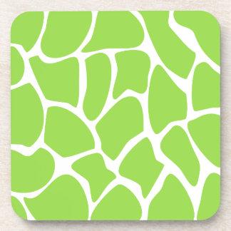 Giraffe Print Pattern in Lime Green. Coaster