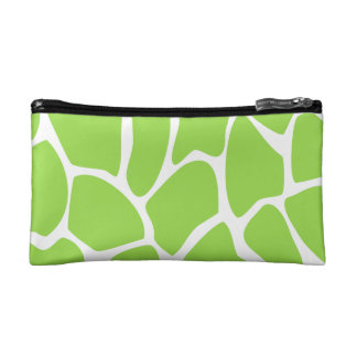 Giraffe Print Pattern in Lime Green. Cosmetic Bag