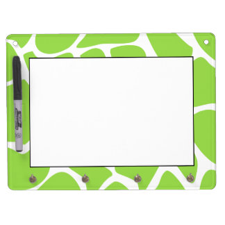 Giraffe Print Pattern in Lime Green. Dry Erase Board With Key Ring Holder