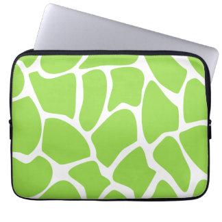 Giraffe Print Pattern in Lime Green. Laptop Sleeve