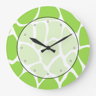 Giraffe Print Pattern in Lime Green. Large Clock