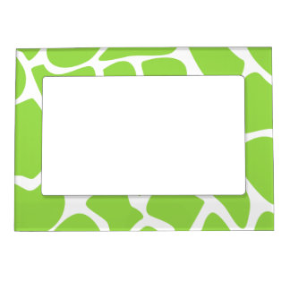 Giraffe Print Pattern in Lime Green. Magnetic Frame
