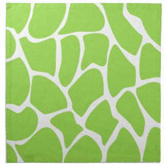 Giraffe Print Pattern in Lime Green. Napkin