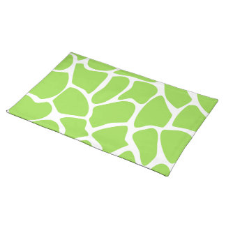 Giraffe Print Pattern in Lime Green. Placemat