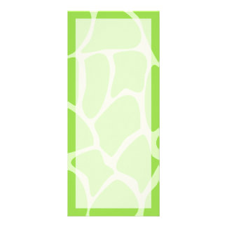 Giraffe Print Pattern in Lime Green. Rack Card