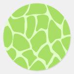 Giraffe Print Pattern in Lime Green. Round Sticker