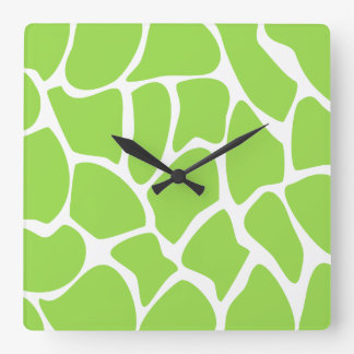 Giraffe Print Pattern in Lime Green. Square Wall Clock