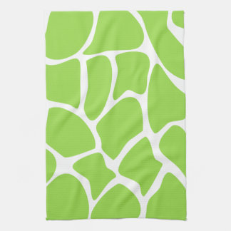 Giraffe Print Pattern in Lime Green. Tea Towel