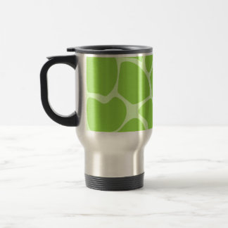 Giraffe Print Pattern in Lime Green. Travel Mug