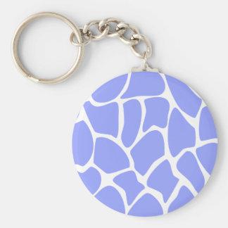 Giraffe Print Pattern in Sky Blue. Basic Round Button Key Ring