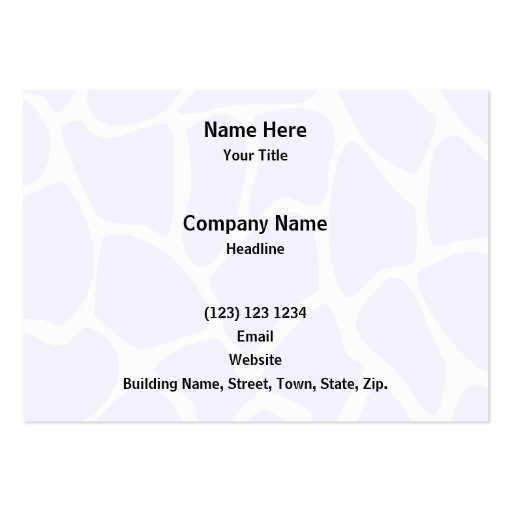 Giraffe Print Pattern in Sky Blue. Business Card Template