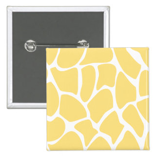 Giraffe Print Pattern in Yellow. 15 Cm Square Badge