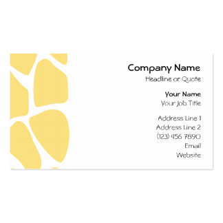 Giraffe Print Pattern in Yellow. Business Cards