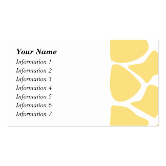 Giraffe Print Pattern in Yellow. Double-Sided Standard Business Cards (Pack Of 100)