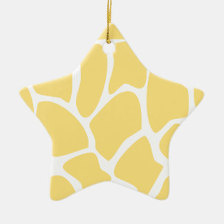 Giraffe Print Pattern in Yellow. Christmas Ornament