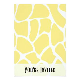 "Giraffe Print Pattern in Yellow. 5"" X 7"" Invitation Card"