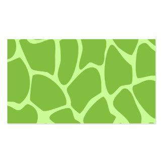 Giraffe Print Pattern. Safari Green. Pack Of Standard Business Cards