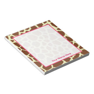 Giraffe Print Personalized Notepad