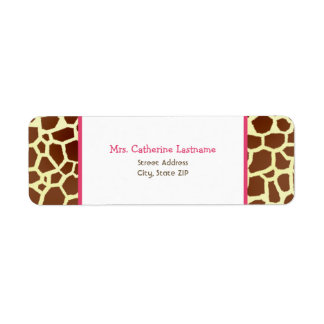 Giraffe Print & Pink Address Label Sticker
