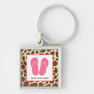 Giraffe Print & Pink Flip Flops Personalized Silver-Colored Square Key Ring