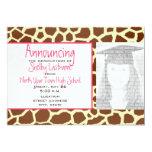 Giraffe Print & Pink Graduation Photo Announcement