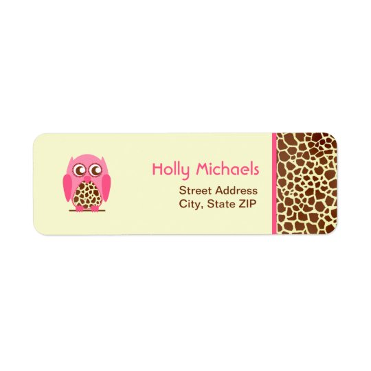 Giraffe Print & Pink Owl Address Labels