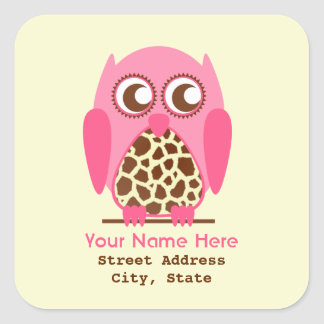 Giraffe Print & Pink Owl Address Sticker